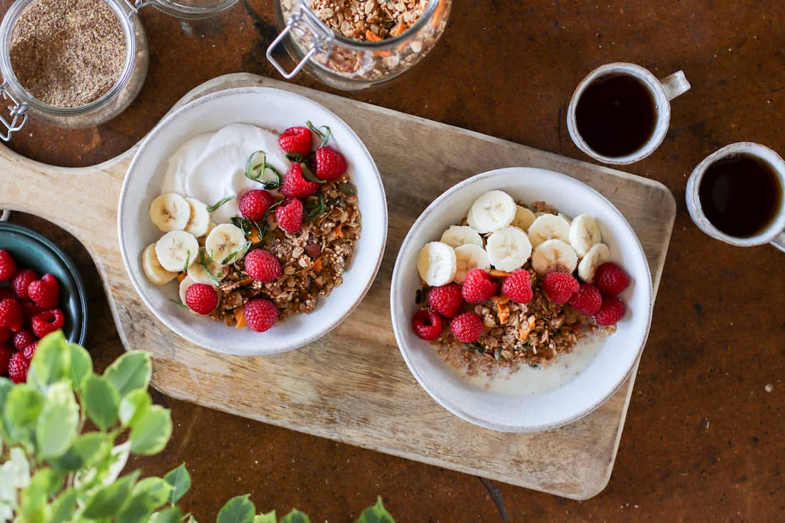 two bowls of almond and mango granola