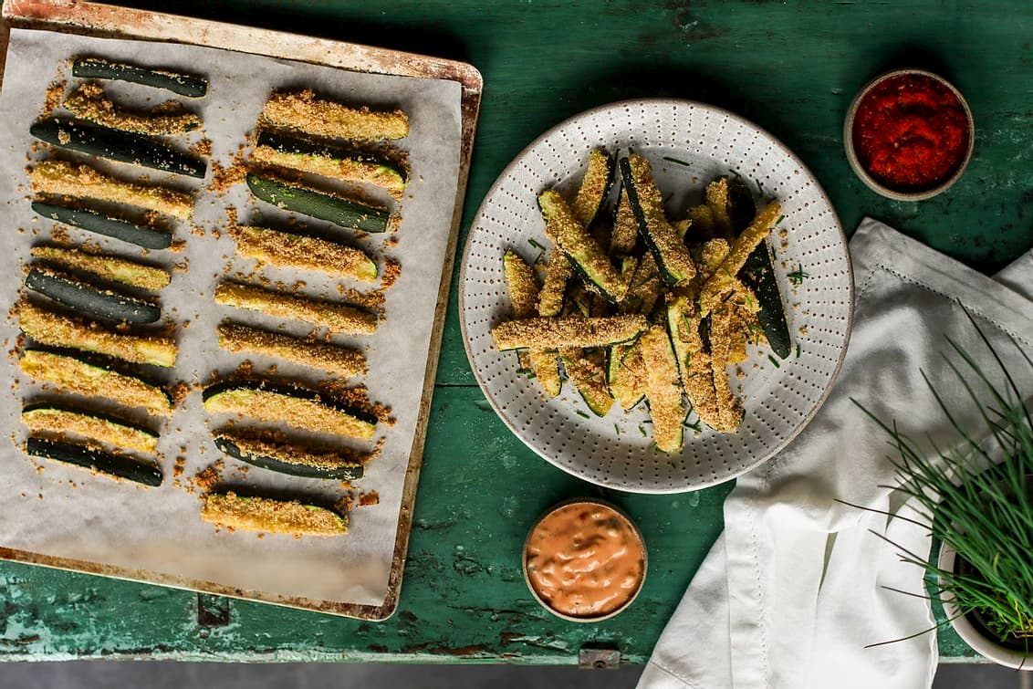 baked zucchini fries with two dips