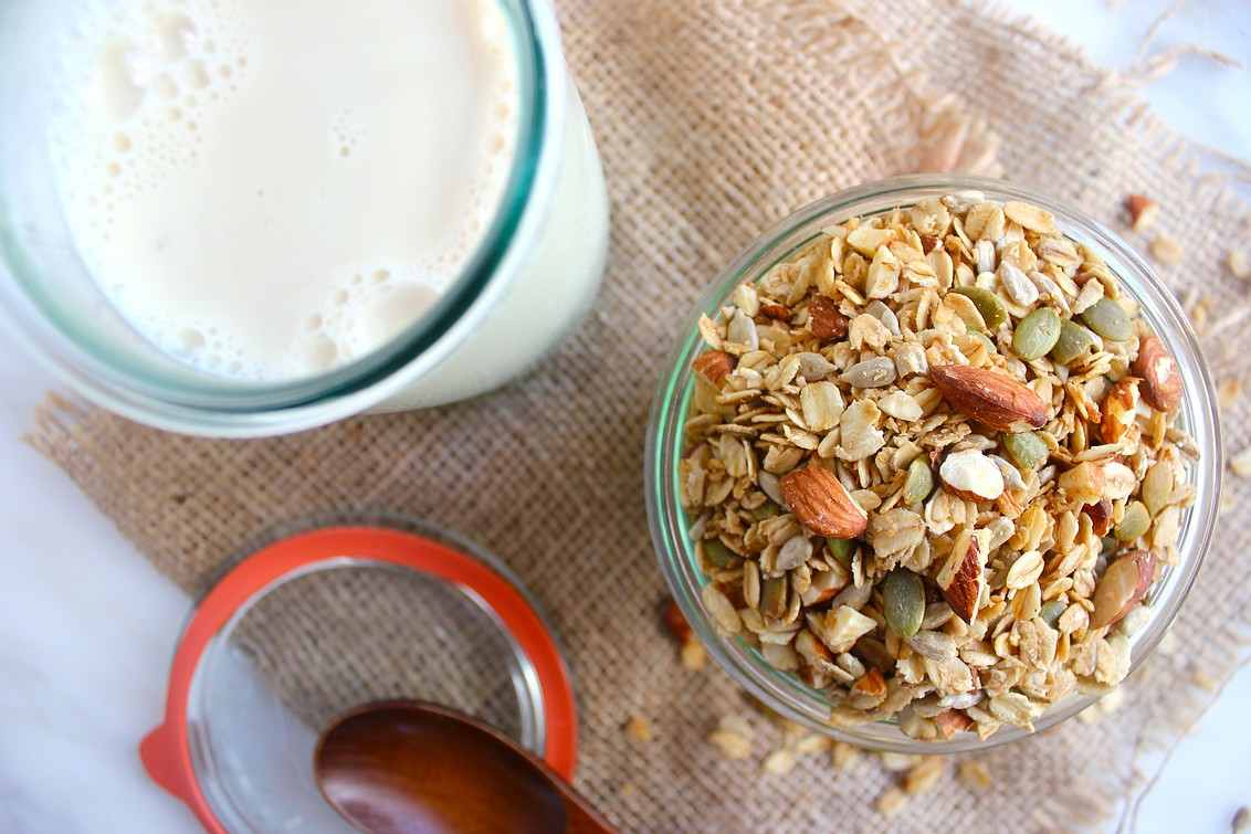 coconut and almond granola with milk