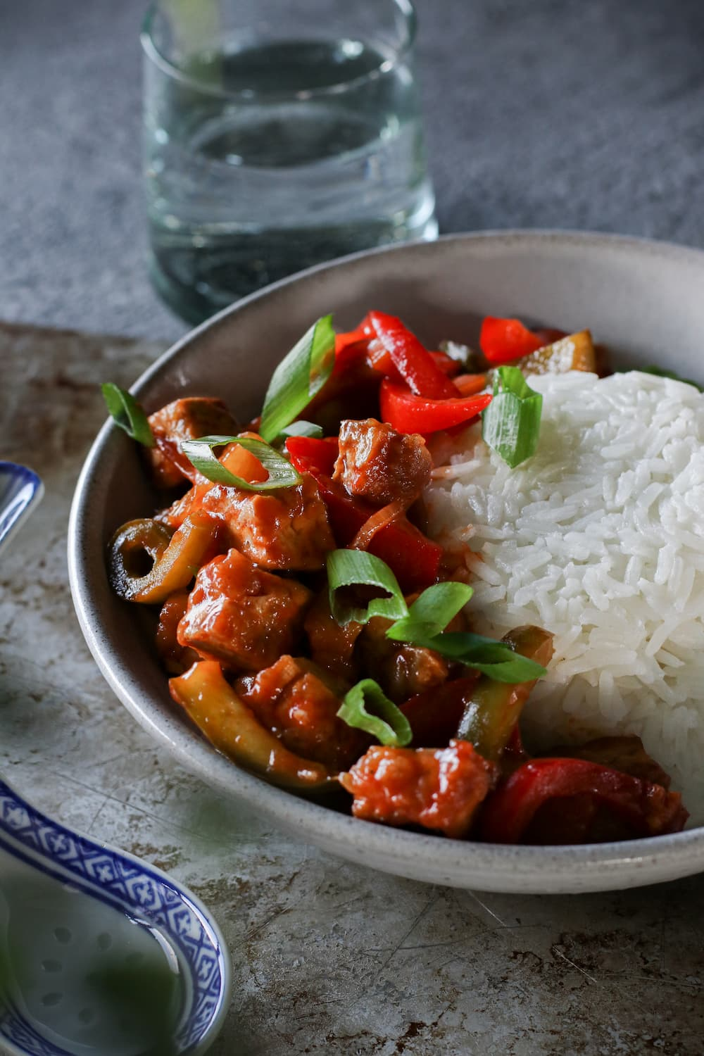sweet and sour tofu with rice