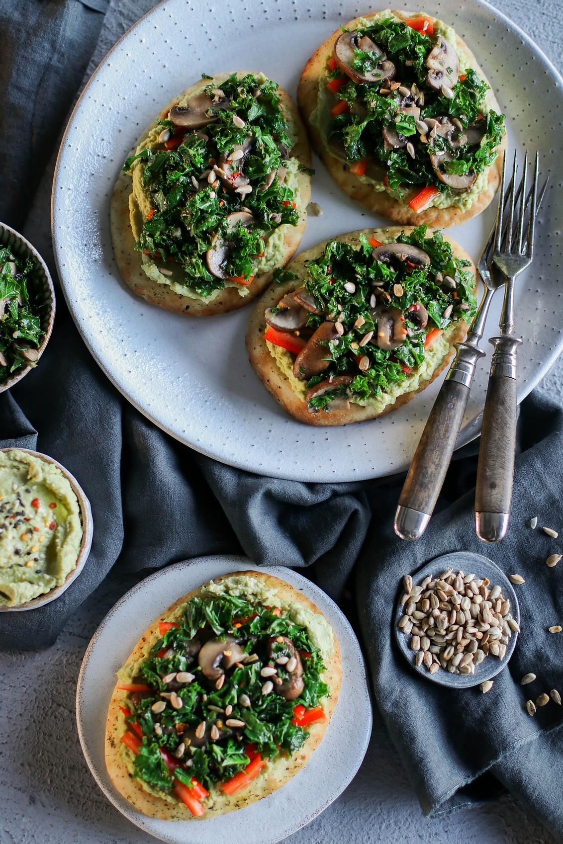 avocado hummus toast with miso mushrooms