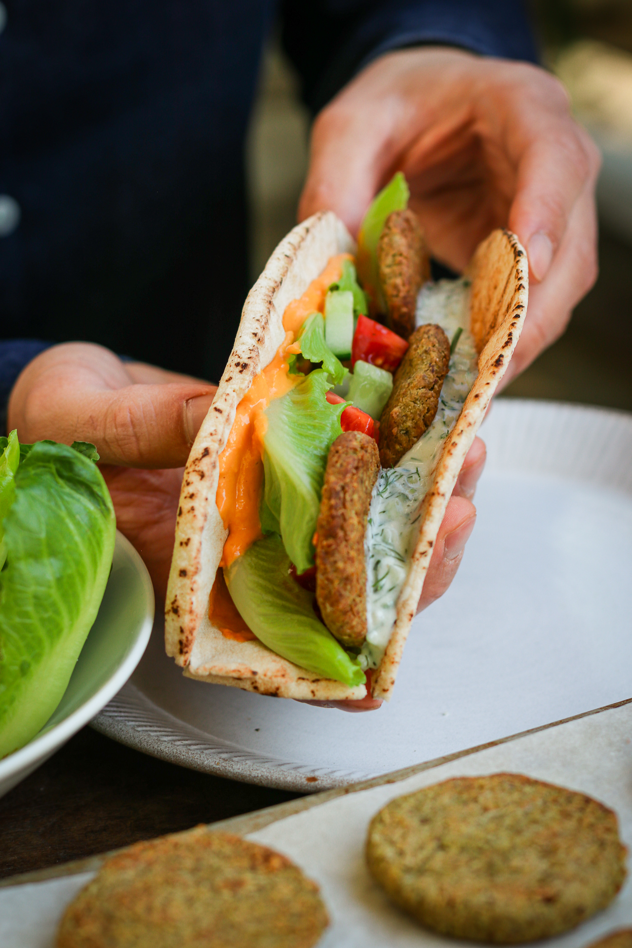 baked green pea and chickpea falafel